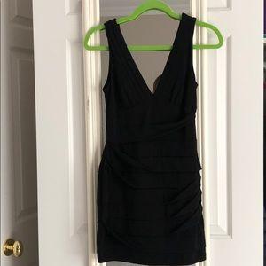 Bcbg black fitted, vneck dress